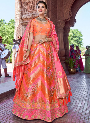 Picturesque Orange and Pink Banarasi Silk A Line Lehenga Choli