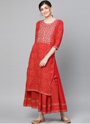 Picturesque Red Cotton Party Wear Kurti