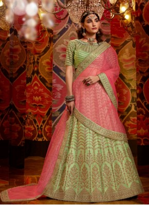 Pink and Pista Green Embroidered Net Semi Stitched Suit Material