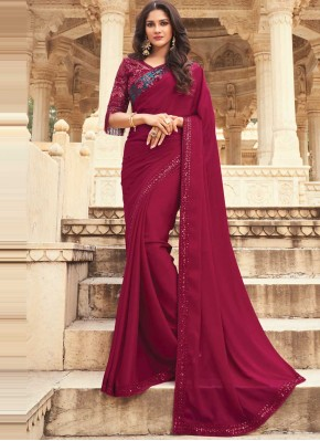 Pink and Purple Embroidered Shaded Saree