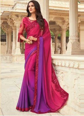 Pink and Purple Silk Embroidered Shaded Saree