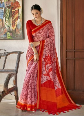 Pink and Red Printed Cotton Printed Saree