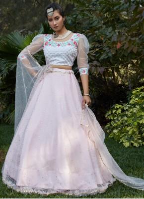 Pink and White Mehndi Net Lehenga Choli