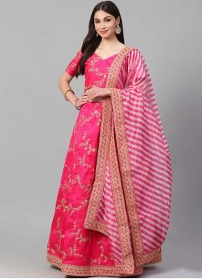 Pink Art Silk Zari Lehenga Choli