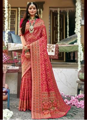Pink Banarasi Silk Trendy Saree