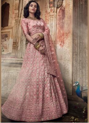 Pink Bridal Satin Lehenga Choli