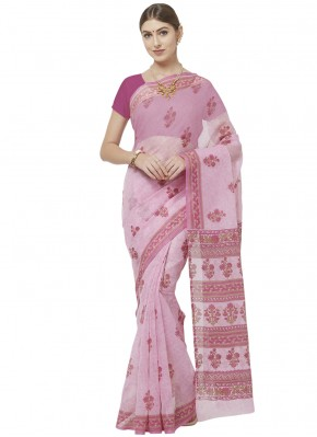 Pink Casual Blended Cotton Printed Saree