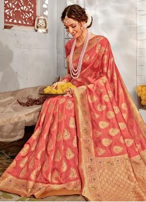 Pink Ceremonial Banarasi Silk Designer Traditional Saree