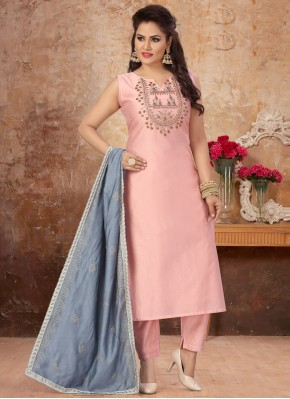 Pink Chanderi Readymade Suit