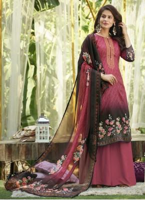 Pink Cotton Ceremonial Designer Palazzo Suit