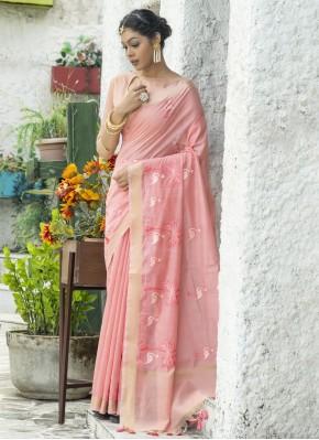 Pink Cotton Engagement Classic Saree