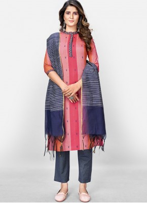 Pink Cotton Festival Readymade Suit