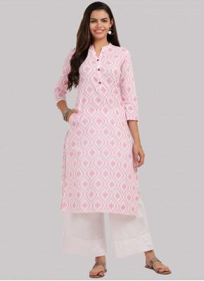 Pink Cotton Party Wear Kurti