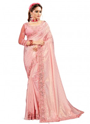 Pink Crepe Silk Embroidered Designer Traditional Saree