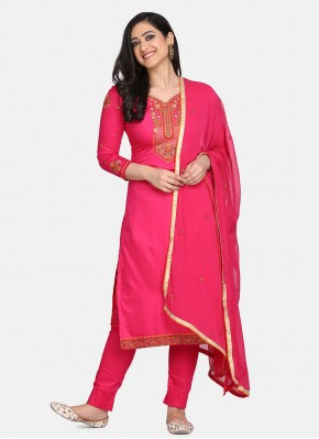 Pink Embroidered Festival Designer Straight Suit