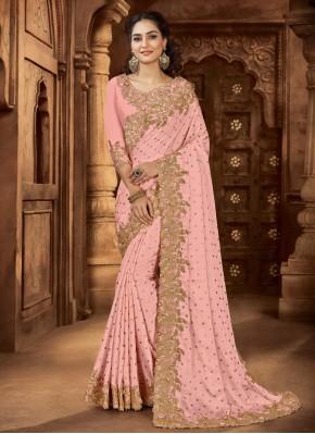 Pink Embroidered Wedding Bollywood Saree