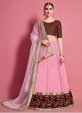 Pink Engagement A Line Lehenga Choli