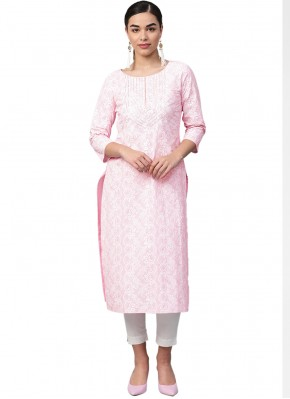Pink Fancy Cotton Party Wear Kurti