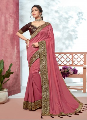 Pink Fancy Fabric Party Contemporary Saree