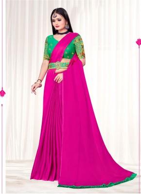 Pink Faux Chiffon Embroidered Classic Designer Saree