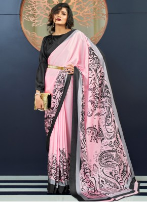 Pink Faux Crepe Party Trendy Saree