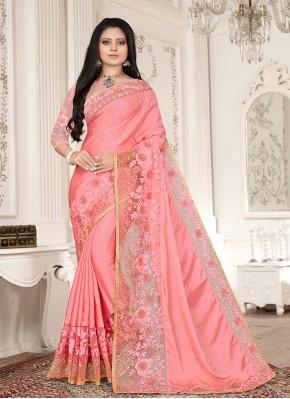 Pink Festival Fancy Fabric Designer Saree