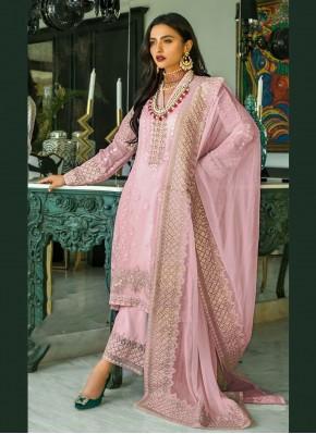 Pink Festival Faux Georgette Designer Pakistani Suit