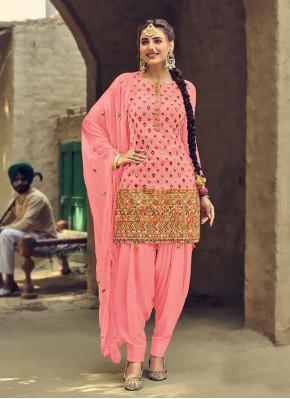 Pink Festival Faux Georgette Patiala Suit