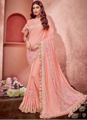 Pink Festival Lycra Saree