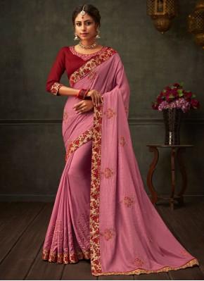 Pink Festival Poly Silk Classic Designer Saree