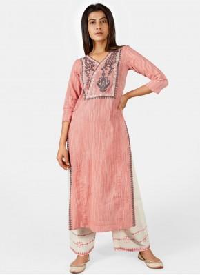 Pink Khadi Party Wear Kurti