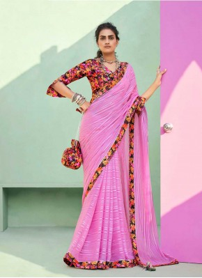Pink Lace Trendy Saree