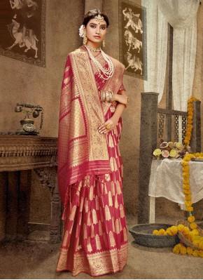 Pink Mehndi Banarasi Silk Designer Traditional Saree