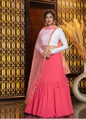 Pink Mehndi Georgette Designer Lehenga Choli