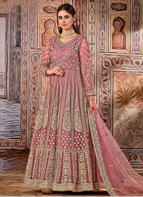 Pink Mehndi Net Floor Length Designer Suit