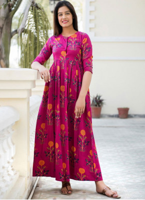 Pink Muslin Abstract Print Party Wear Kurti