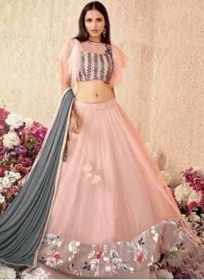 Pink Net Designer A Line Lehenga Choli