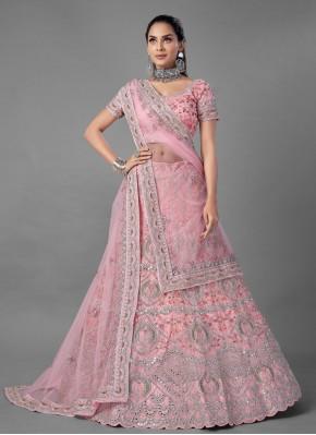 Pink Net Dori Work Lehenga Choli