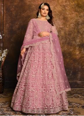 Pink Net Embroidered Floor Length Anarkali Suit