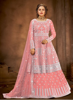 Pink Net Long Choli Lehenga