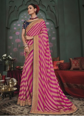 Pink Patch Border Engagement Trendy Saree