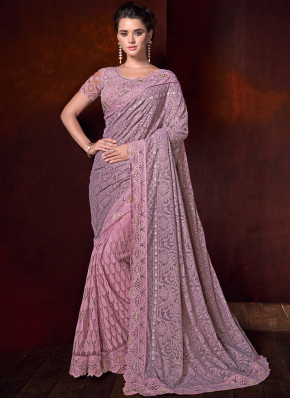 Pink Patch Border Fancy Fabric Classic Saree