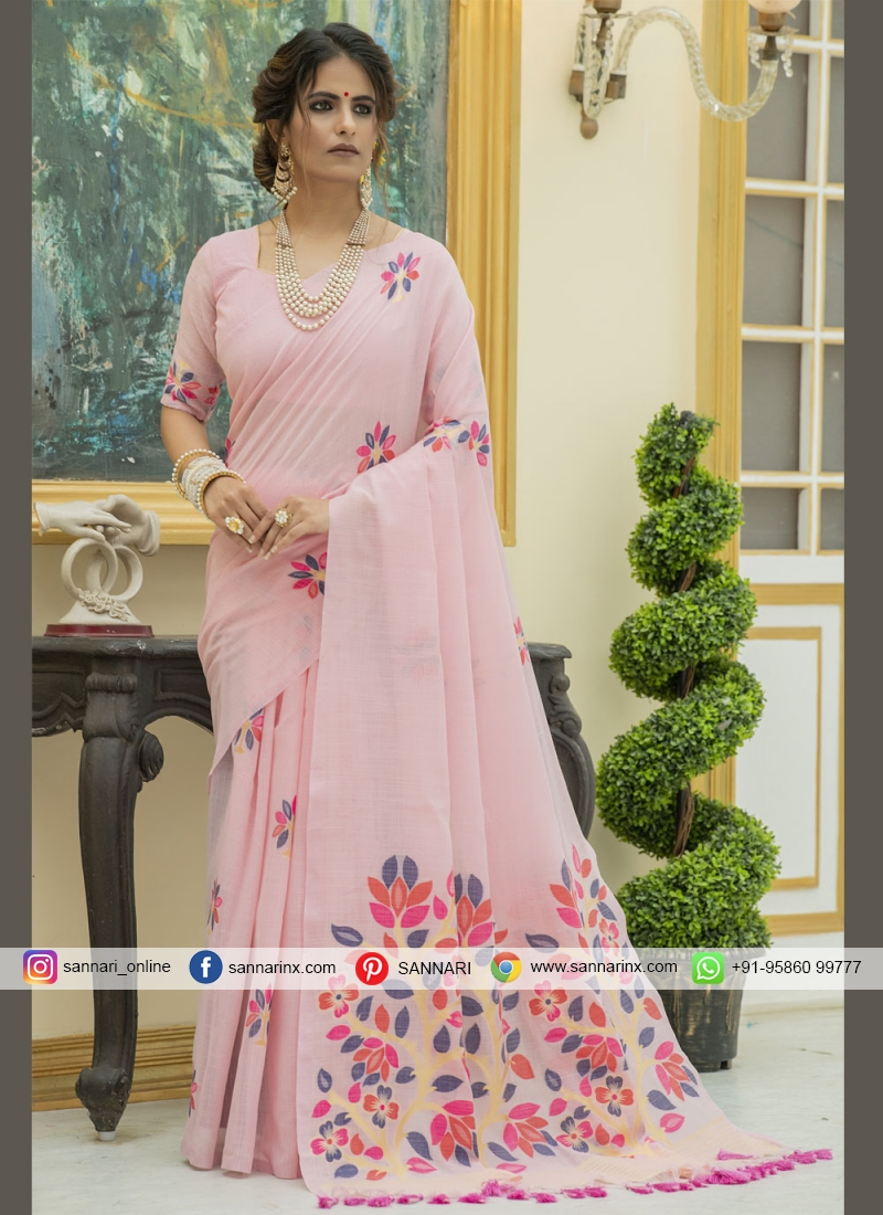 Pink Print Classic Designer Saree