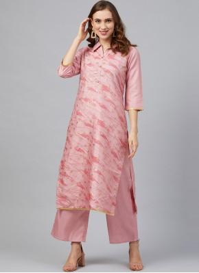 Pink Print Poly Silk Party Wear Kurti