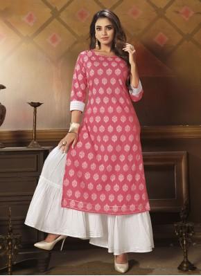 Pink Printed Cotton Party Wear Kurti