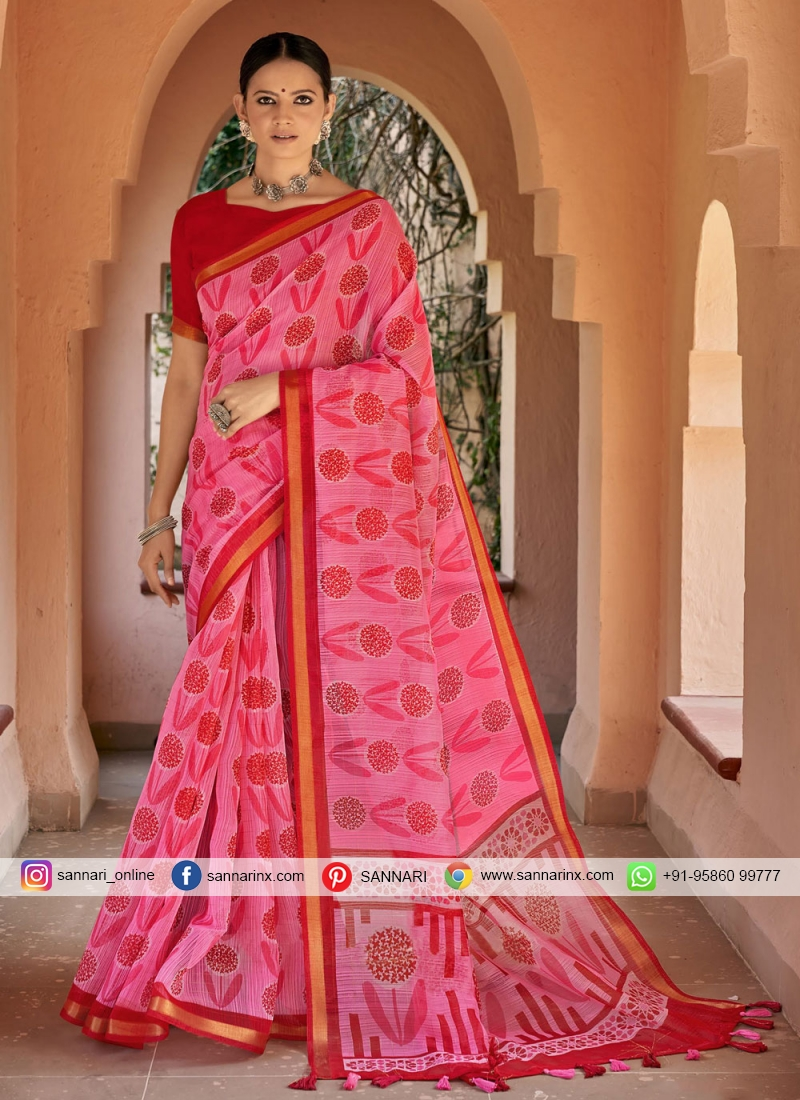 Pink Printed Cotton Printed Saree