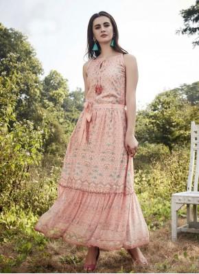 Pink Printed Designer Kurti