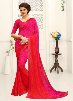 Pink Printed Faux Georgette Shaded Saree