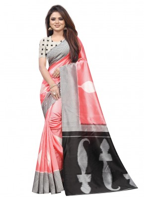 Pink Raw Silk Traditional Saree