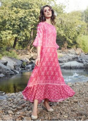 Pink Rayon Printed Designer Kurti